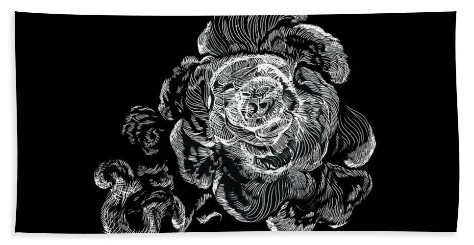Drawing Hand Towel featuring the drawing Scratched Rose by Lizi Beard-Ward
