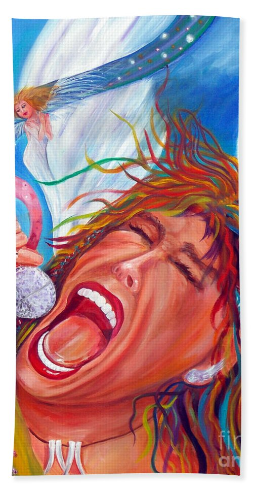 Autism Bath Sheet featuring the painting Screamin Angel by To-Tam Gerwe