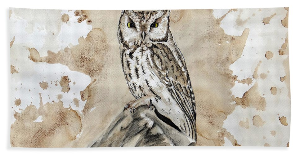 Screech Owl Bath Sheet featuring the mixed media Screech Owl by Heather Stinnett