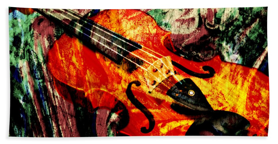 Violin Bath Sheet featuring the mixed media Scribbled Fiddle by Ally White