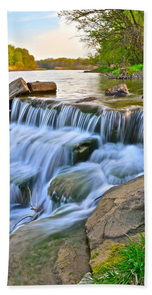Sculpted Hand Towel featuring the photograph Sculpted Falls by Frozen in Time Fine Art Photography