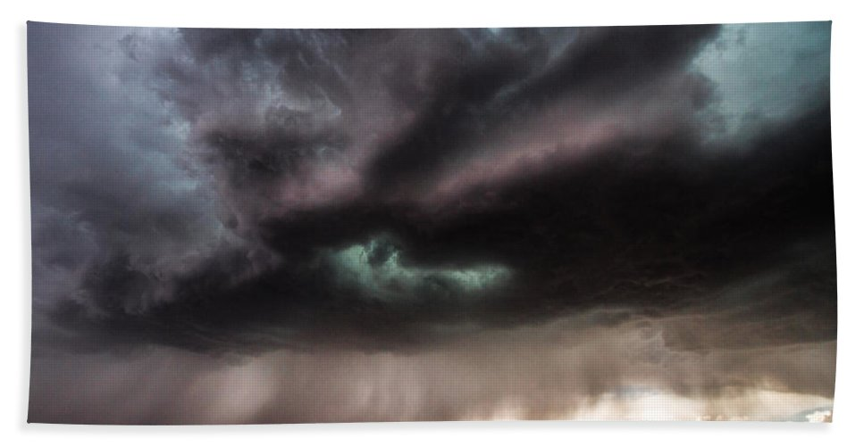 Storms Bath Sheet featuring the photograph Sculpture - Turquoise Colored Storm Over Kansas Plains by Southern Plains Photography