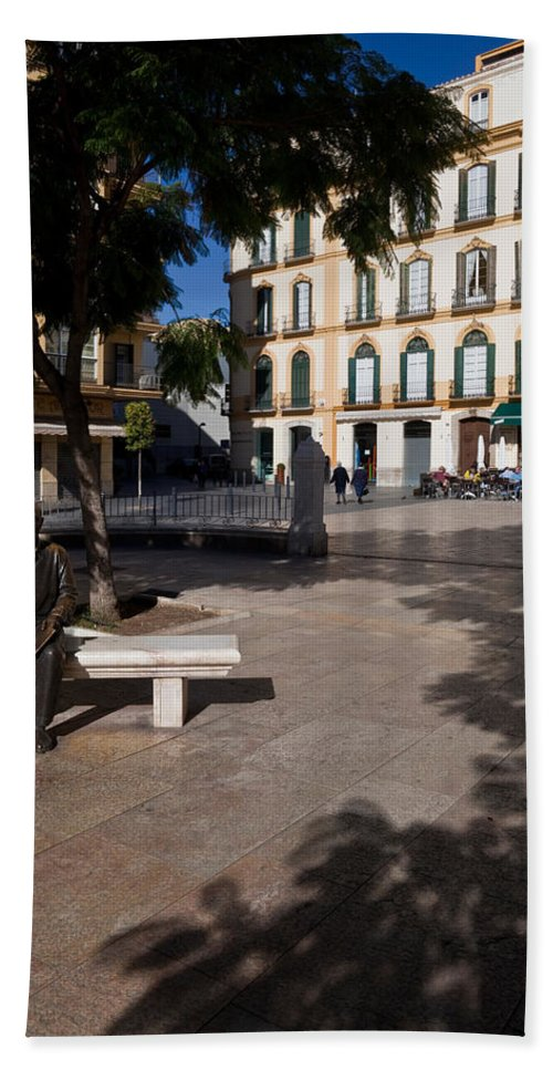 Photography Bath Sheet featuring the photograph Scupture Of Picasso On The Plaza De La by Panoramic Images