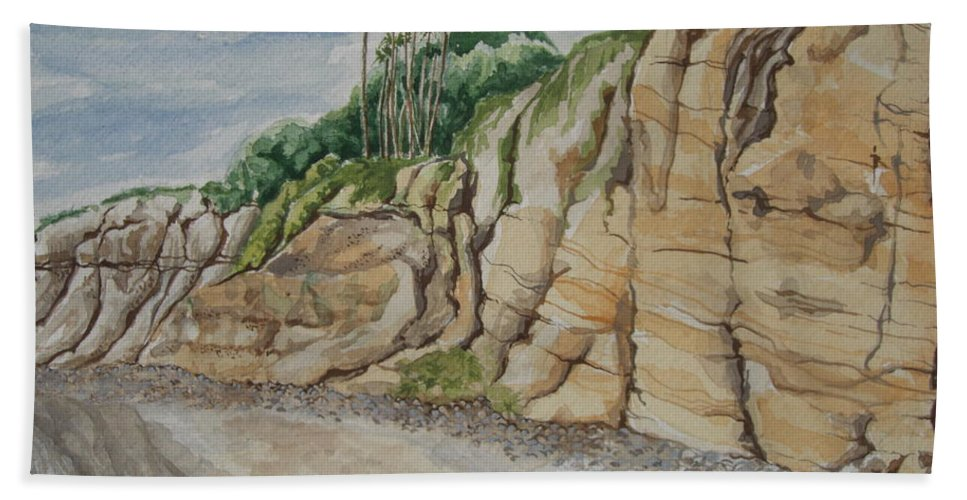 Cliffs Hand Towel featuring the painting Sd Cliffs by John Wilson