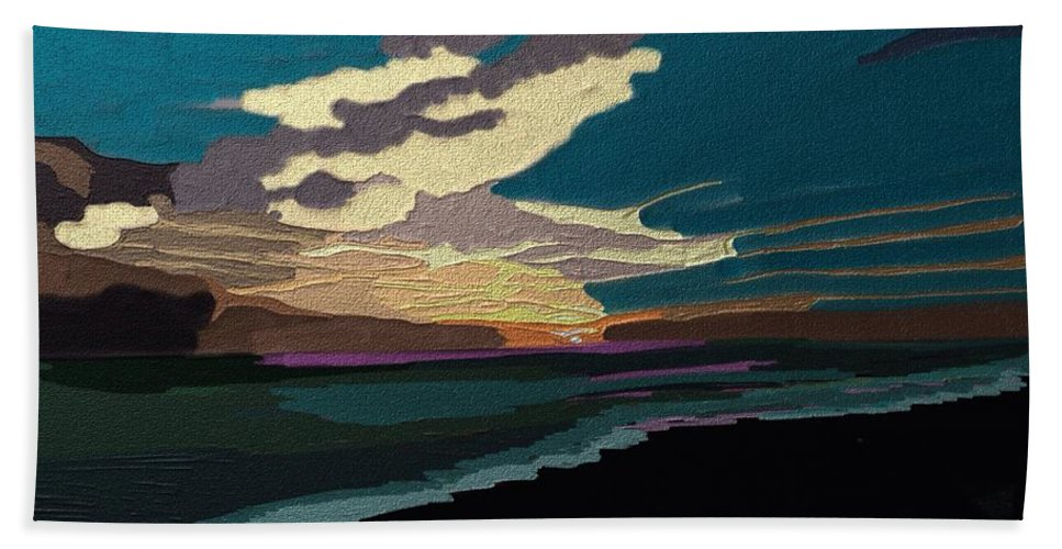Sky Bath Sheet featuring the painting Sea And Sky In Colour by Karen Harding