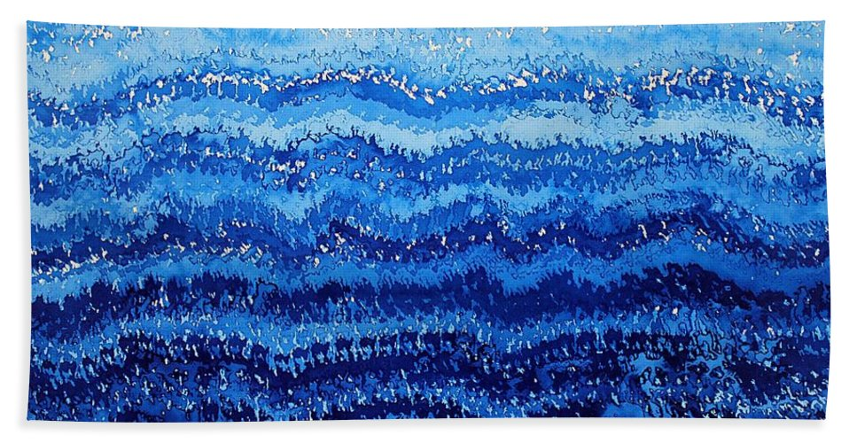 Sea Hand Towel featuring the painting Sea And Sky Original Painting by Sol Luckman