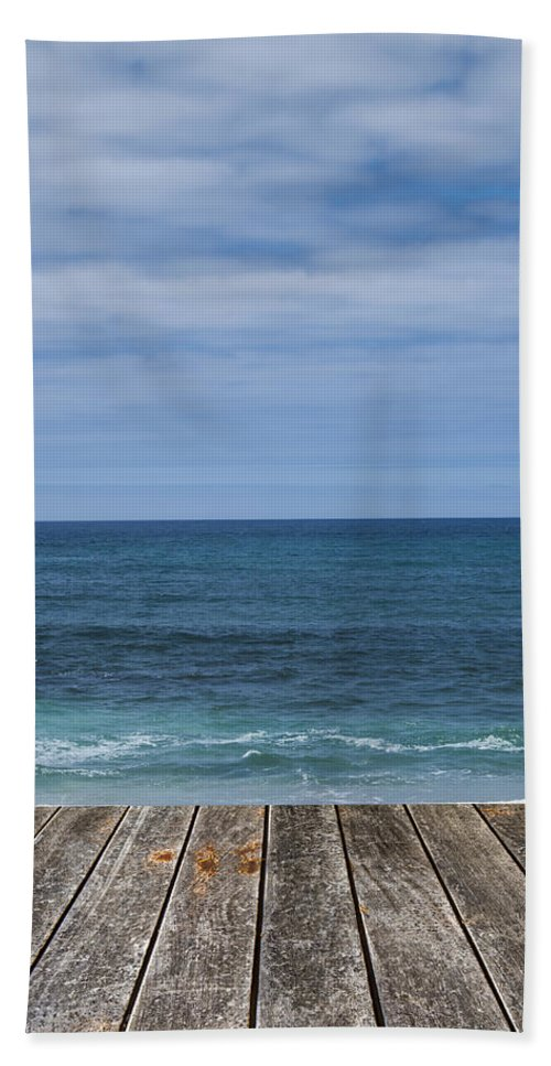 Abstract Hand Towel featuring the photograph Sea And Wooden Platform by Paulo Goncalves
