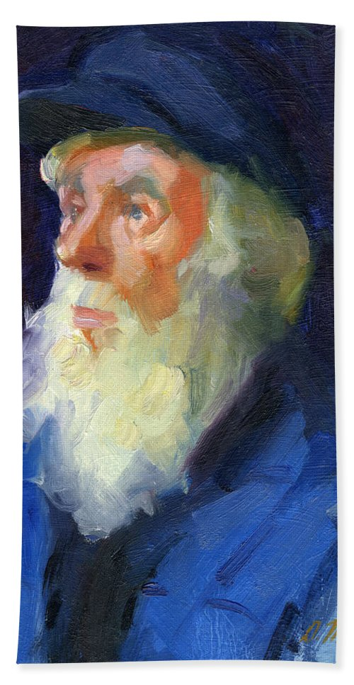 Sea Captain Bath Sheet featuring the painting Sea Captain 2 by Diane McClary