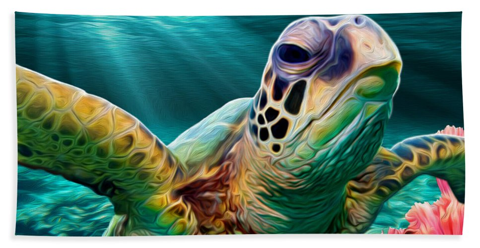 Turtle Bath Sheet featuring the mixed media Sea Cruise by Jonathan W Brown