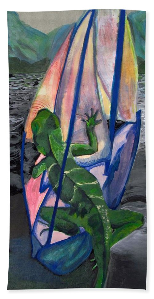 #water#dragon#ocean#landscape#mountains#sailing#adventure#colorful Hand Towel featuring the painting Sea Dragon by Kayla Kuhns