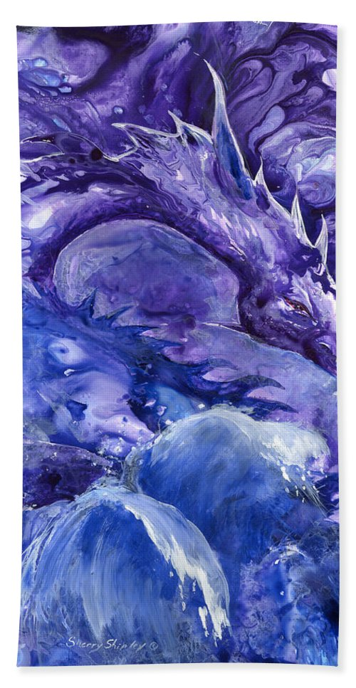 Dragon Hand Towel featuring the painting Sea Dragon by Sherry Shipley