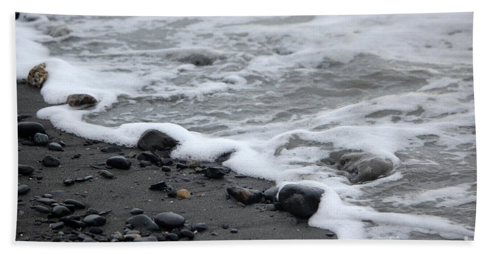 Beach Hand Towel featuring the photograph Sea Foam by Stacey May