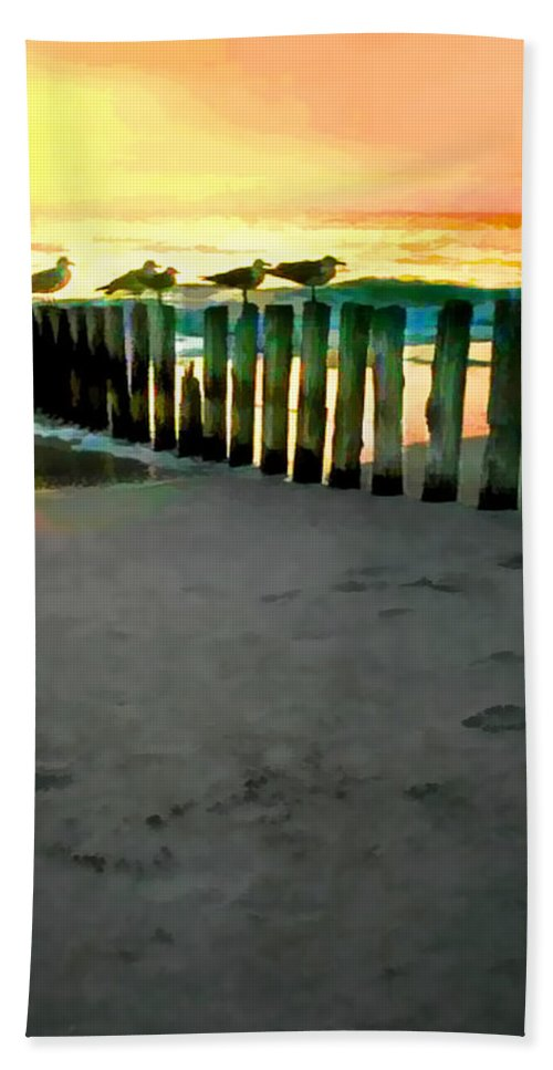 Ocean Bath Sheet featuring the painting Sea Gulls On Pilings At Sunset by Elaine Plesser