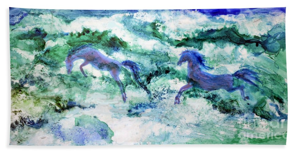 Watercolor Bath Sheet featuring the painting Sea Horses by Joan Hartenstein