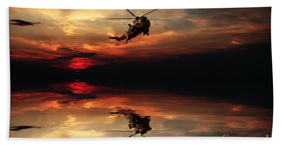 Sea King Bath Sheet featuring the digital art Sea King Sunset by J Biggadike