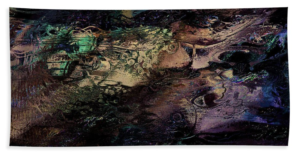 Abstract Hand Towel featuring the mixed media Sea Life by Natalie Holland