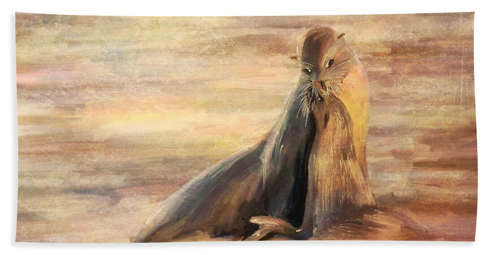 Sea Lion Bath Sheet featuring the painting Sea Lion Mom And Pup Love On Galapagos Island by Angela Stanton