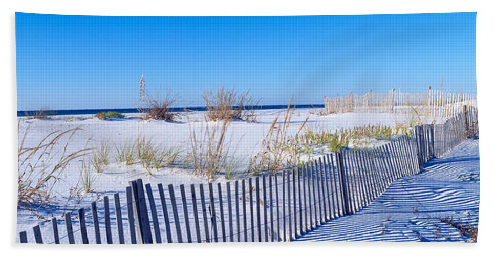 Photography Hand Towel featuring the photograph Sea Oats And Fence Along White Sand by Panoramic Images