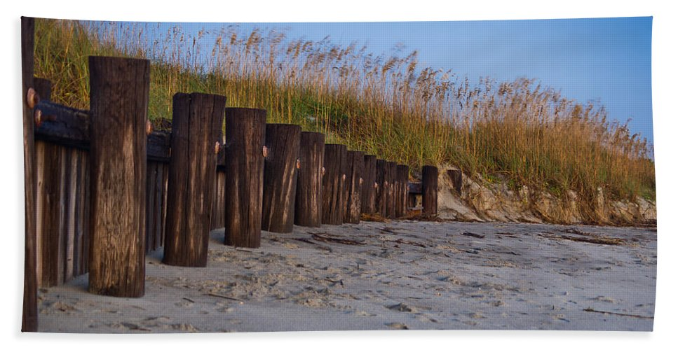 Charleston Hand Towel featuring the photograph Sea Oats And Pilings by E Karl Braun