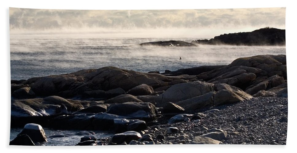 Landscape Bath Sheet featuring the photograph Sea-smoke At Schoodic by Brent L Ander