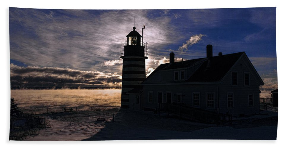 Sea Smoke Bath Sheet featuring the photograph Sea Smoke At West Quoddy Head Lighthouse by Marty Saccone