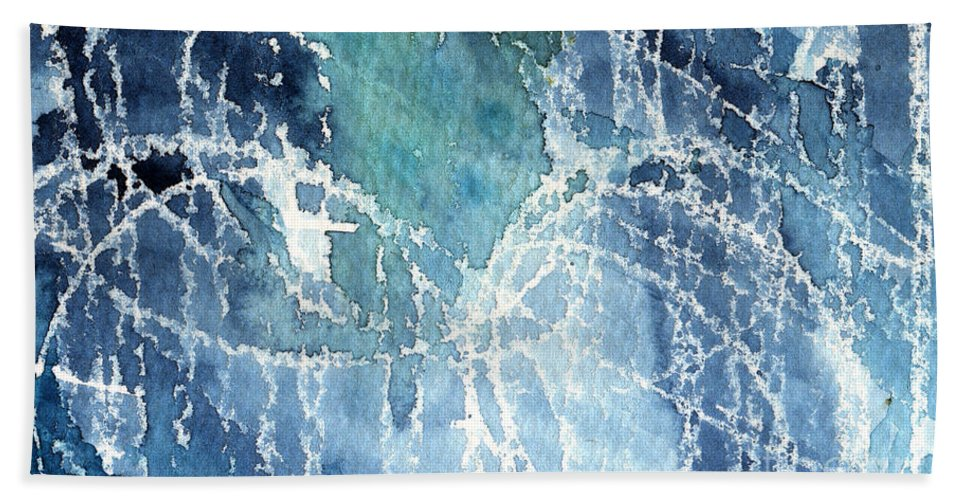 Abstract Painting Hand Towel featuring the painting Sea Spray by Linda Woods