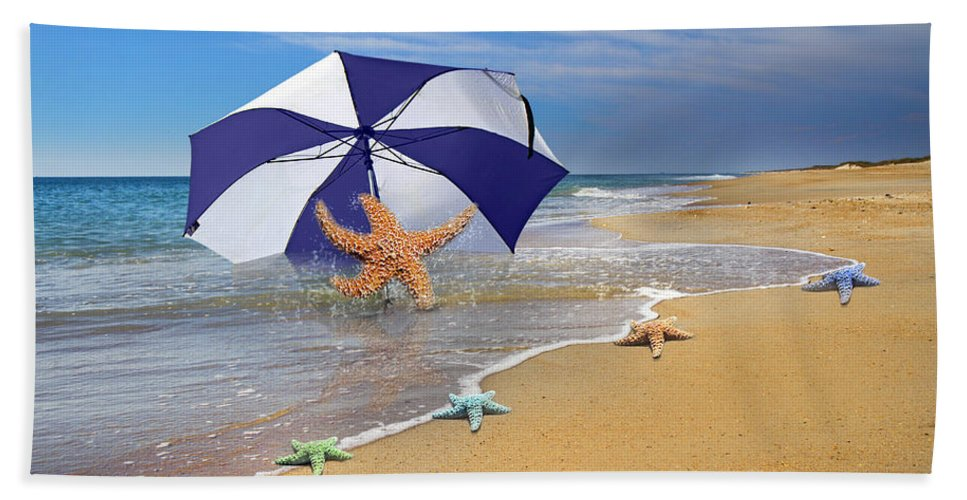 Starfish Hand Towel featuring the digital art Sea Star Celebration by Betsy Knapp