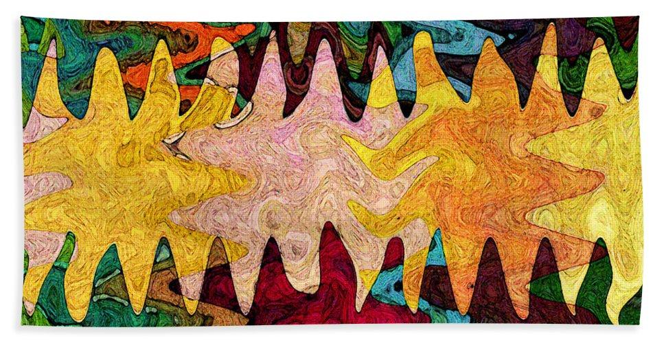 Sea Star Bath Sheet featuring the digital art Sea Star Parade by Gary Olsen-Hasek