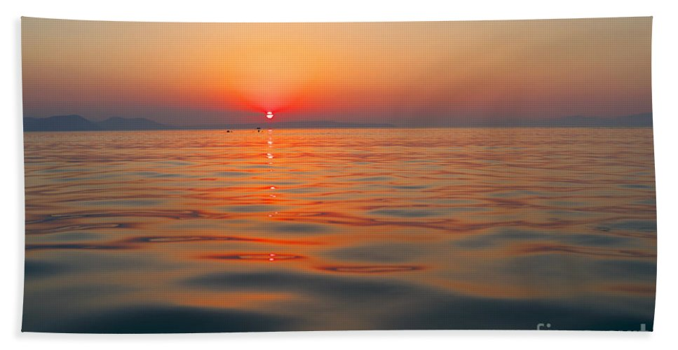 Sunset Hand Towel featuring the photograph Sea Sunset by Grigorios Moraitis