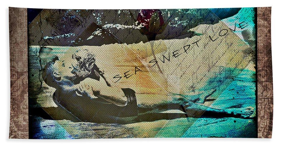Sea Swept Love Bath Sheet featuring the digital art Sea Swept Love by Absinthe Art By Michelle LeAnn Scott