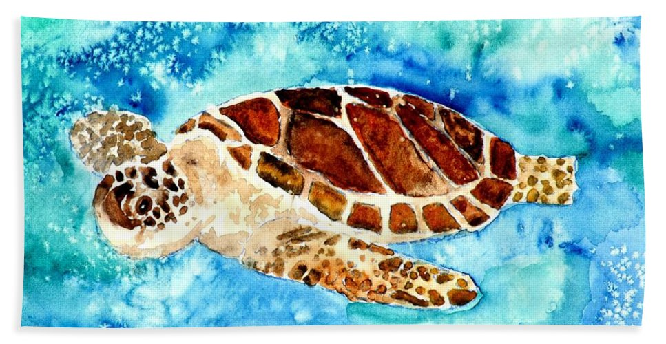 Sea Turtle Hand Towel featuring the painting Sea Turtle by Derek Mccrea