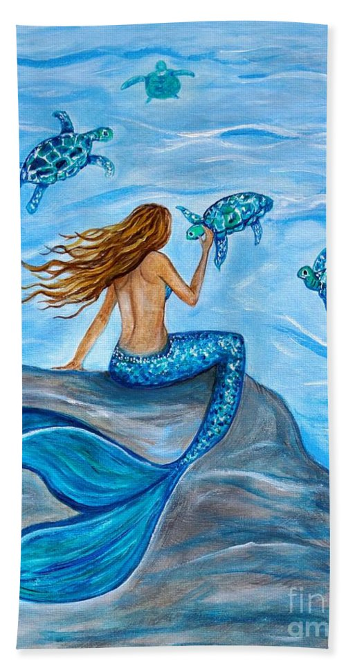 Mermaid Tail Hand Towel featuring the painting Sea Turtle Friends by Leslie Allen
