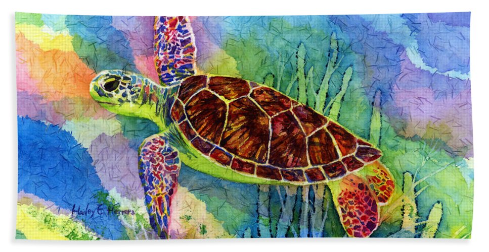 Turtle Hand Towel featuring the painting Sea Turtle by Hailey E Herrera