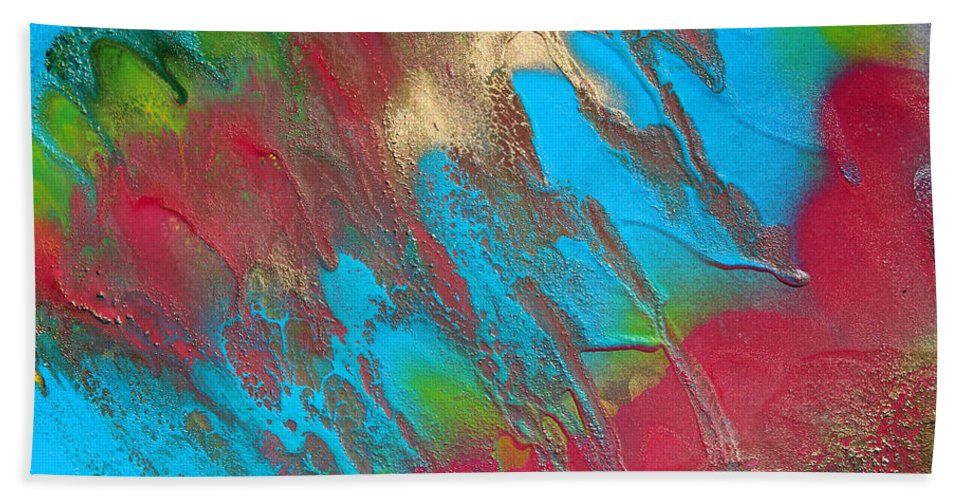 Painting Bath Sheet featuring the painting Seabreeze Abstract Painting by Julia Apostolova