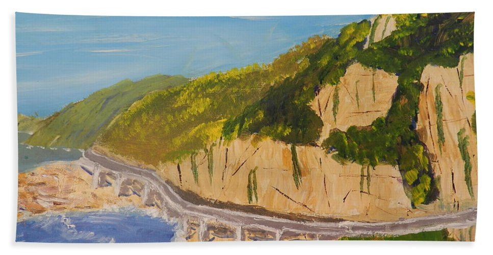Impressionism Hand Towel featuring the painting Seacliff Bridge by Pamela Meredith