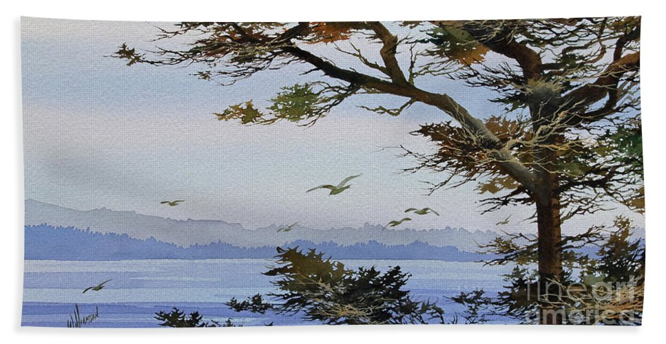 Seacoast Bath Sheet featuring the painting Seacoast Mood by James Williamson
