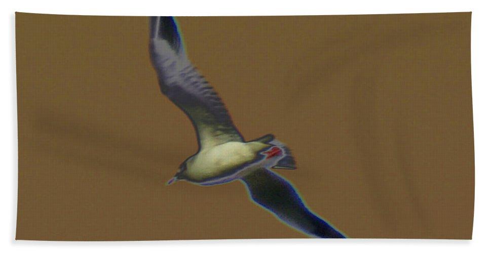 Bird Hand Towel featuring the digital art Seagull by Carol Lynch