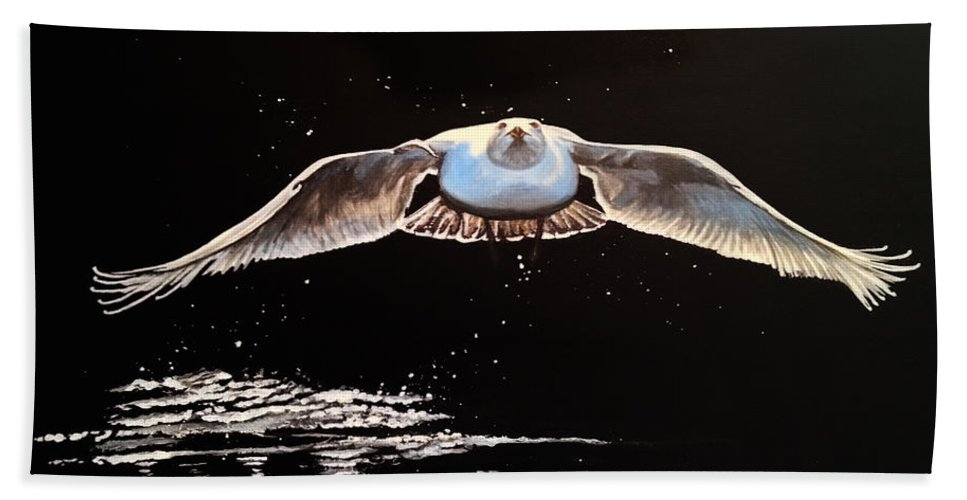 Barbara Andrews Bath Sheet featuring the painting Seagull In The Moonlight by Barbara Andrews