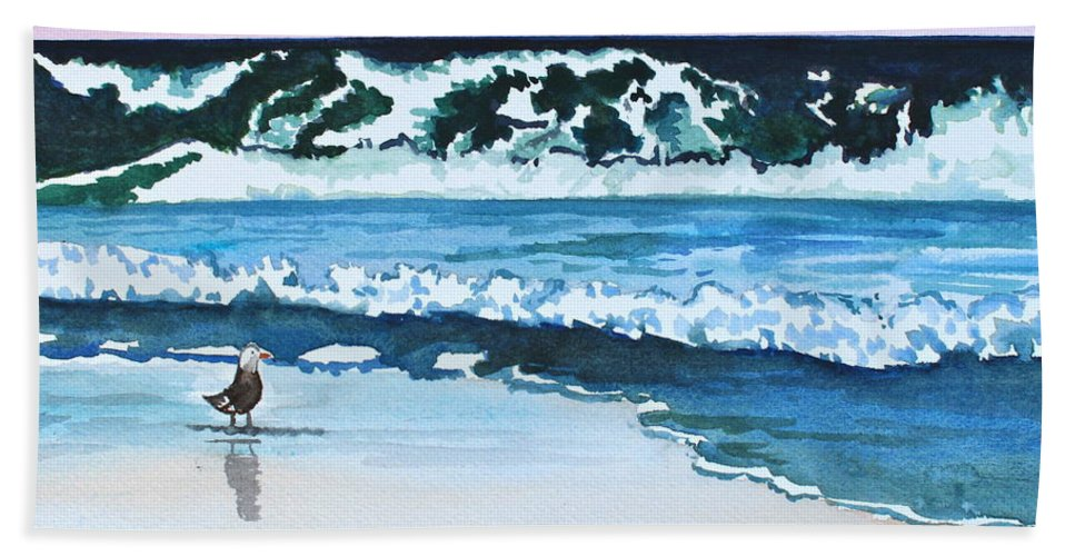 Landscape Hand Towel featuring the painting Seagull In The Sand by Tricia Lesky