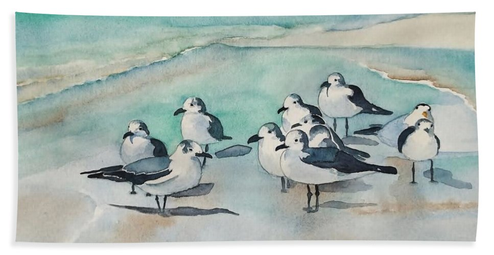 Seagull Party Hand Towel featuring the painting Seagull Party by Lise PICHE