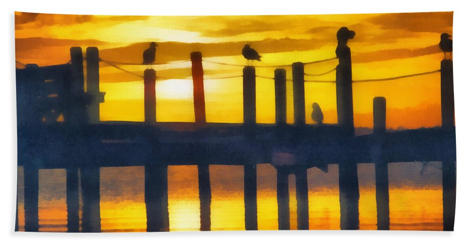 Seagull Hand Towel featuring the digital art Seagull Sunset by Roy Pedersen