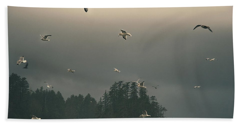 Storm Bath Sheet featuring the photograph Seagulls In A Storm by Yulia Kazansky