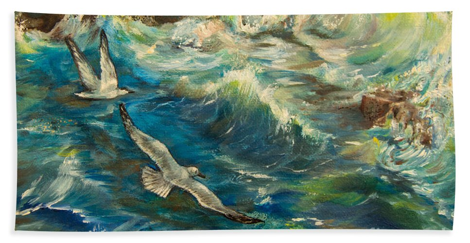 Painting Bath Sheet featuring the painting Seagulls Over The Rough Sea by Zina Stromberg