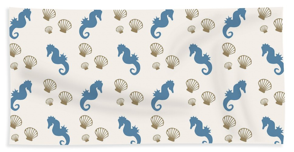 Seahorse Bath Towel featuring the mixed media Seahorse and Shells Pattern by Christina Rollo