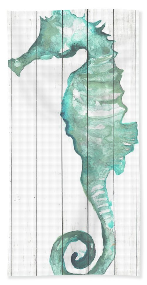 Seahorse Bath Towel featuring the painting Seahorse On Wood Plank by Elizabeth Medley