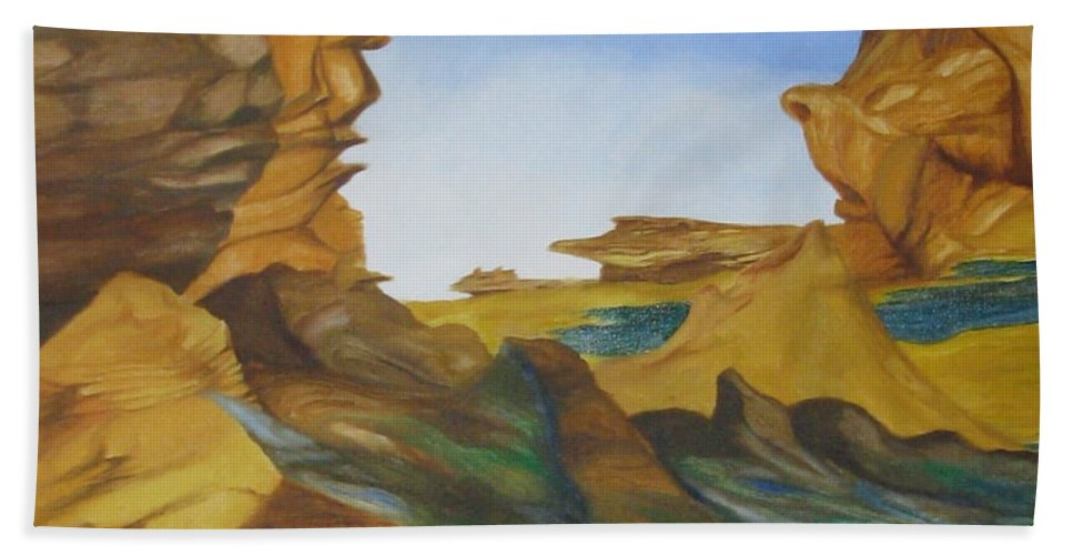 Abstract Surrealism Hand Towel featuring the painting Seal Cove by Richard Dotson