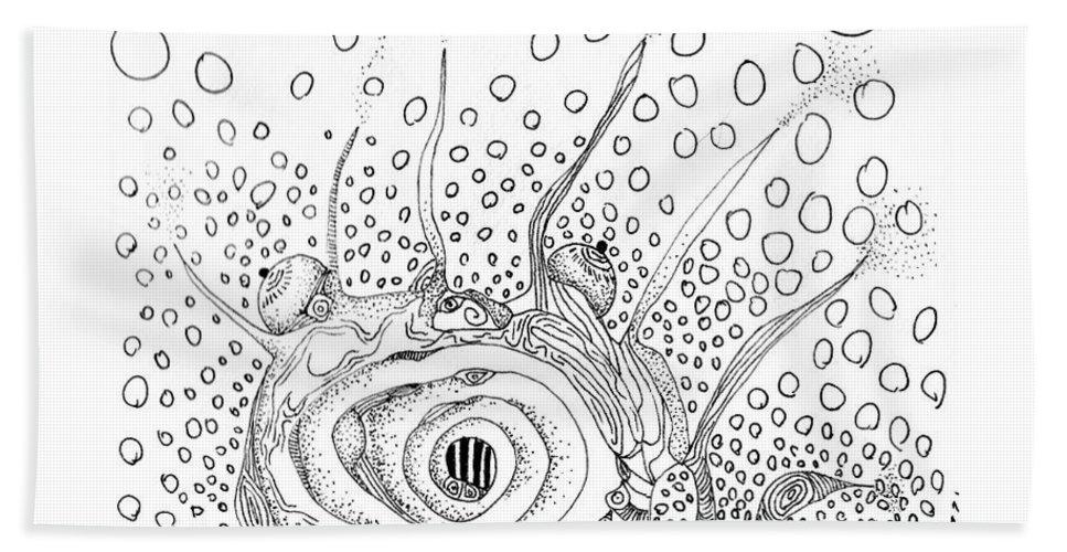 Sea Slug Hand Towel featuring the drawing Sealife Smoooch by Regina Valluzzi