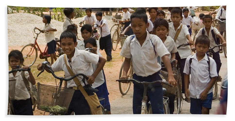 Children Hand Towel featuring the photograph Seam Reap School Children  #2646 by J L Woody Wooden