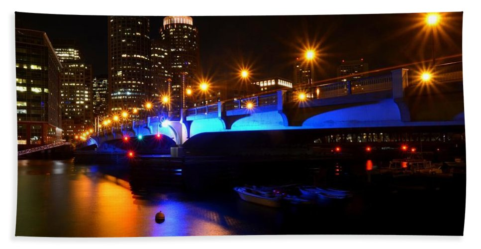 Boston Hand Towel featuring the photograph Seaport Boulevard Boston At Night by Toby McGuire