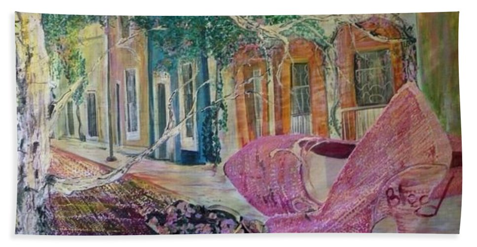 Shoes Bath Towel featuring the painting Searching by Peggy Blood